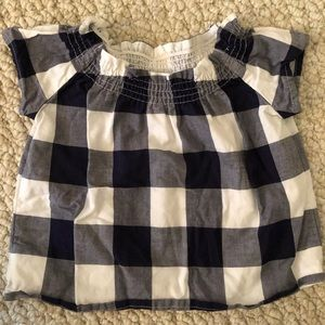Janie and Jack navy and white gingham cotton tee